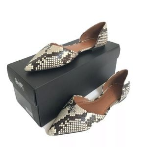 Coach Pointed Toe D Orsay Snakeskin Print Flat